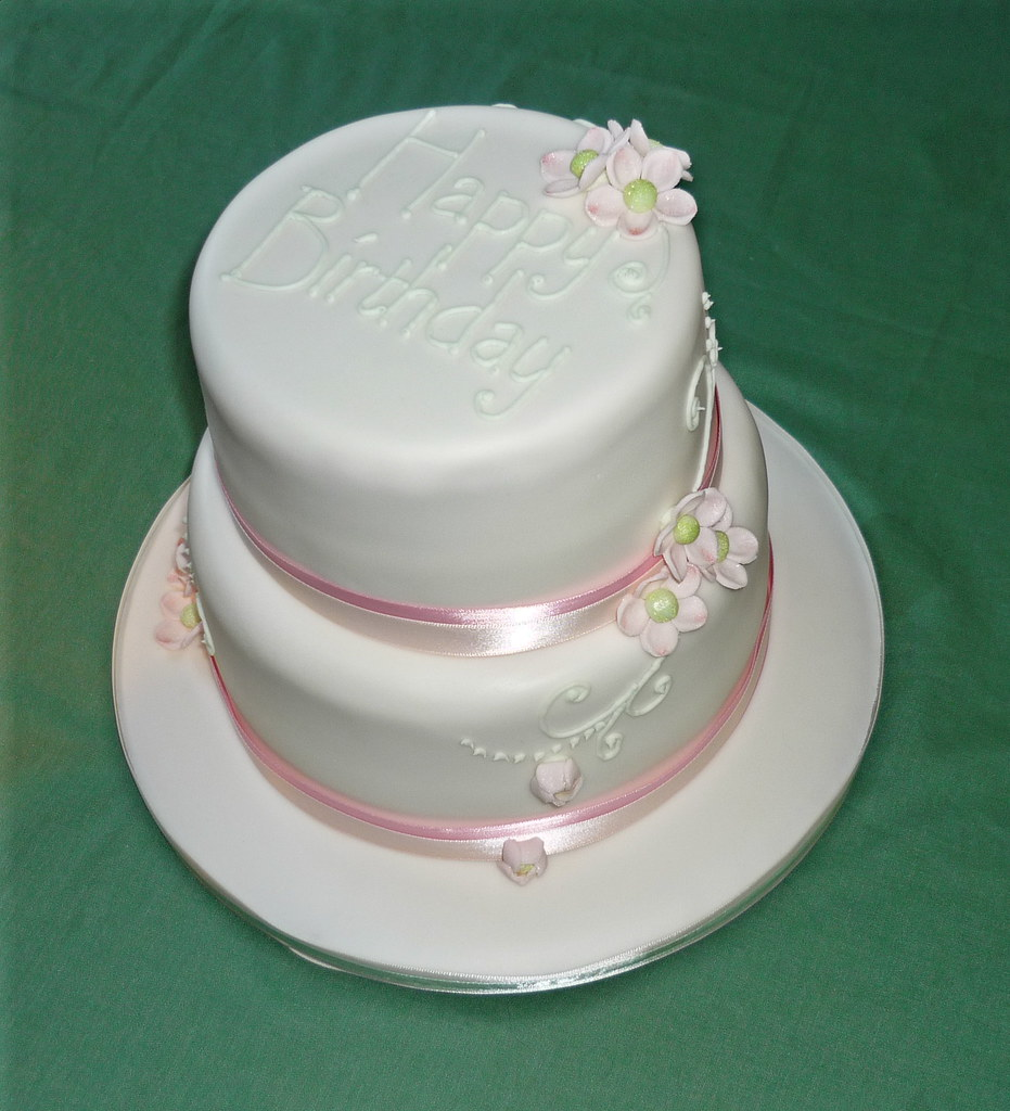 Excellent Pale Pink And Green Birthday Cake A Two Tier Vanilla Spong Flickr Funny Birthday Cards Online Alyptdamsfinfo