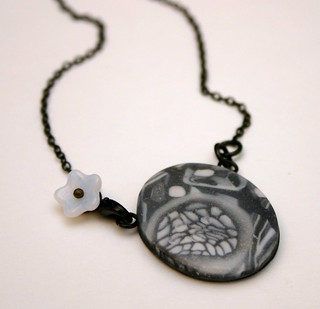Polymer Clay Necklace UNDER THE ICE   by X by Leina Neima