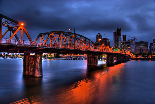 city bridge blue sky orange reflection water skyline night clouds oregon buildings river portland lights lift historic explore hawthornebridge willametteriver span hdr bridging truss photomatix bridgepixing bridgepix 200807 enlightedbridge