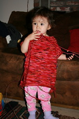 Oct 2008: Trying on mama's sweater | by mygomi