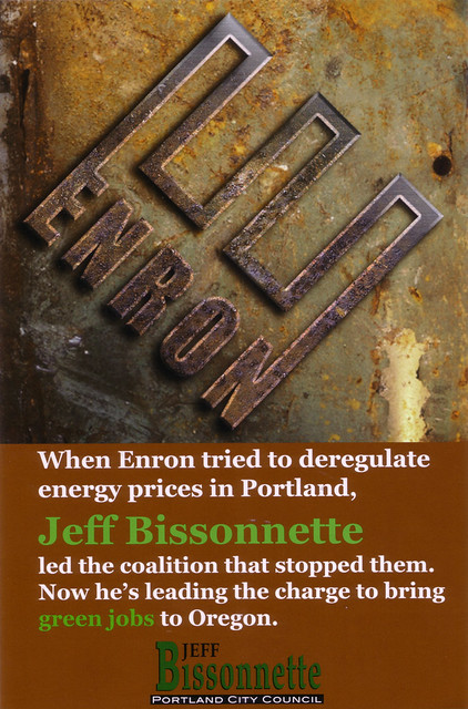 My Rusted Enron logo on Jeff Bissonnette's campaign flyer