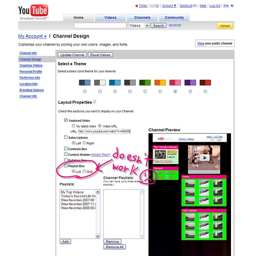 YouTube - Channel Design - Playlist Box List/Grid doesn't