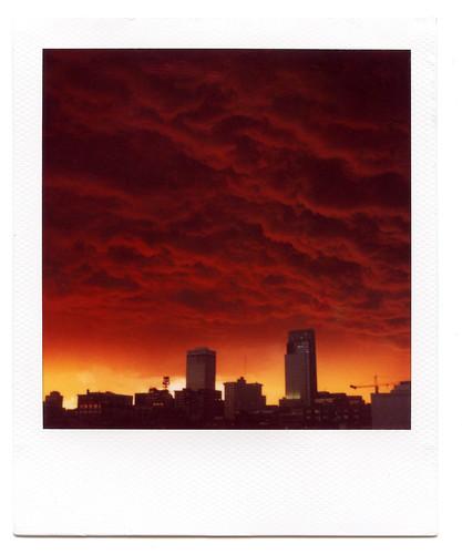 sunset storm film skyline clouds polaroid nebraska omaha polaroid600 slr690