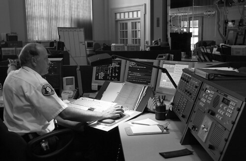 911 call center, 2001   by Seattle Municipal Archives