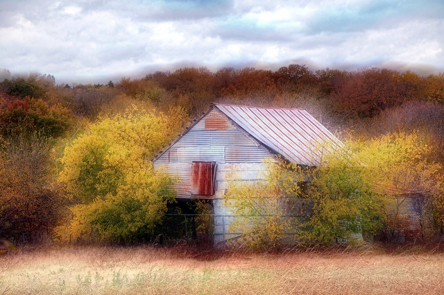 DSC_8414 Autumn Landscape Commercial Photography Sky Clouds Waxahachie Texas Rural Countryside Abandoned Home Grass Fall Color Dreamlike Haze