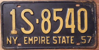 NEW YORK 1957 LICENSE PLATE, STANDARD 12 X 6 INCH SIZE