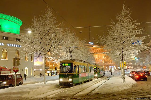 Snowy evening in Helsinki