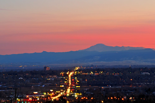 street city pink blue sunset urban mountains landscape lights evening nikon colorado dusk denver commute commuter bluehour federal d300 clff passionphotography impressedbeauty federalboulevard theperfectphotographer