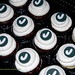 Black and white monogram cupcakes 50th birthday