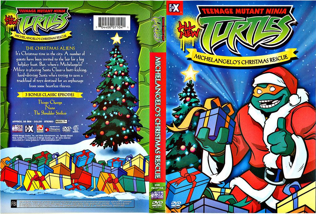 "TEENAGE MUTANT NINJA TURTLES :: ""Michelangelo's Christmas Rescue"" // DVD wrap-around cover (( 2004 )) by tOkKa"