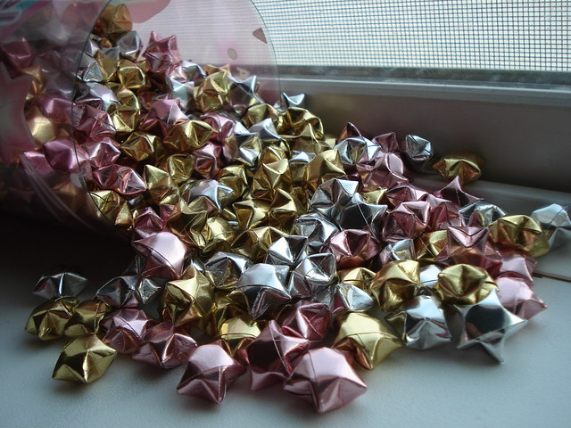 pile of origami lucky star