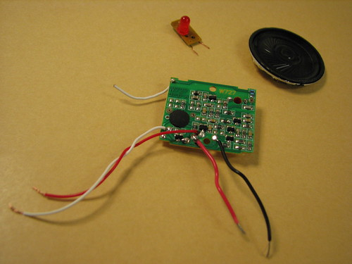 Parts - LED, piezo buzzer and the cute little circuit ...