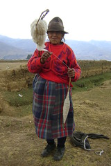 Woman spinning wool in the Pampa above La Union, near Huanuco Viejo