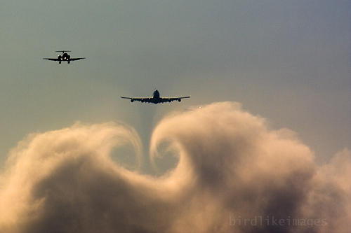 Descending through clouds few miles from landing. London Heathrow Airport UK