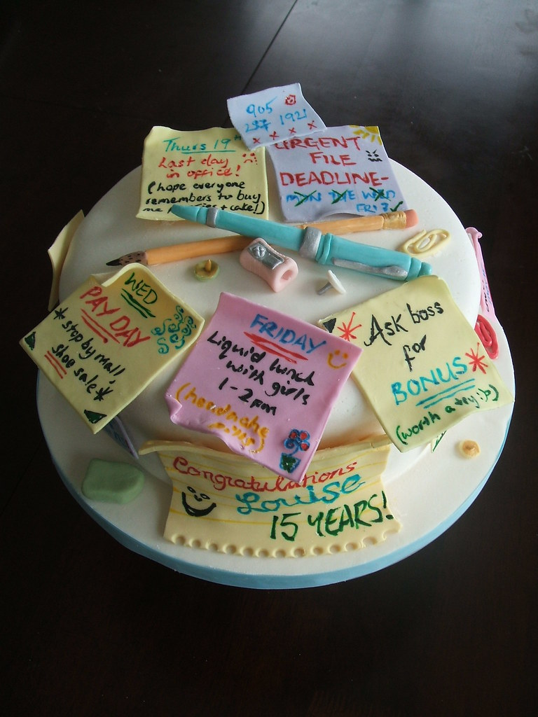 Post It Retirement Cake For An Office Worker Who Was