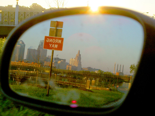 kansascity skyline wrongway sign reflection reverse mirror driving morning sunrise samoff 20topfaves2005