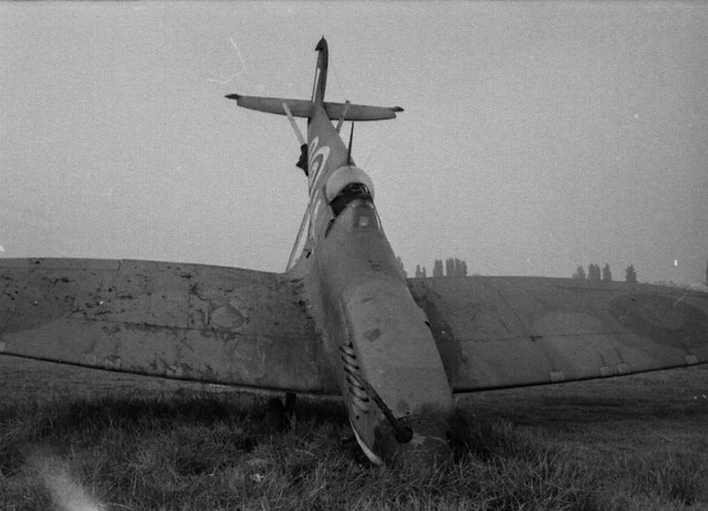 oops2..ground looped spit,,North Weald