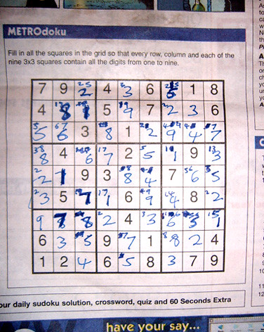 Sudoku I curse you - my second completed puzzle in Metro