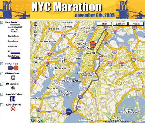 Google Map Of New York City.New York City Marathon Google Map Mash Up The Timoney Grou Flickr