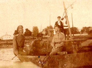 WWI Russian officers on a pontoon