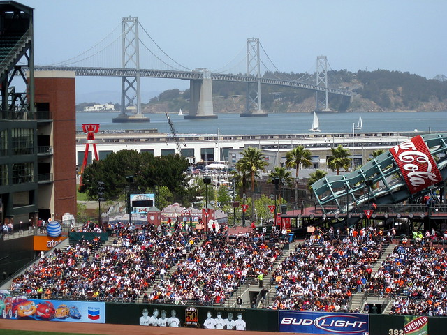 AT&T Park with the Bay Bridge and Yerba Buena Island in the back ground