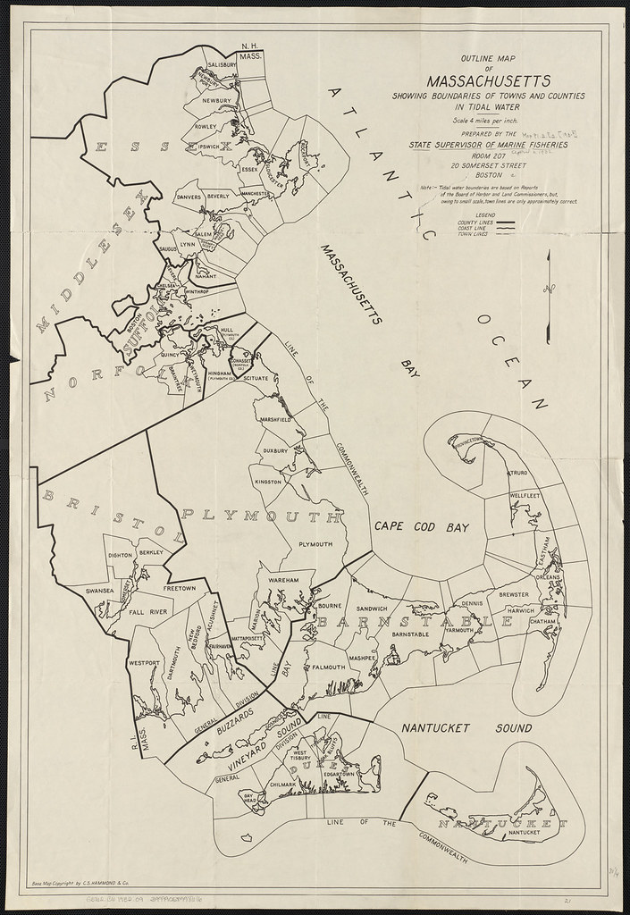 Outline map of Massachusetts showing boundaries of towns a