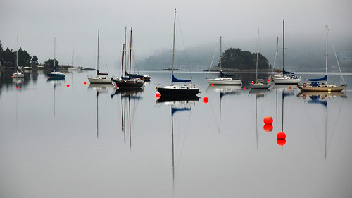 ocean mist reflection glass fog landscape bedford island boat nikon novascotia calm basin sail halifax buoy d40 explored buoyant cans2s