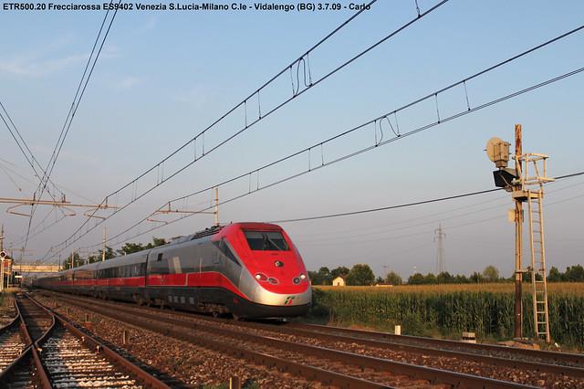 ETR500.20 Frecciarossa ES9402 Venezia S.L.-Milano C.le - Vidalengo 3-7-09