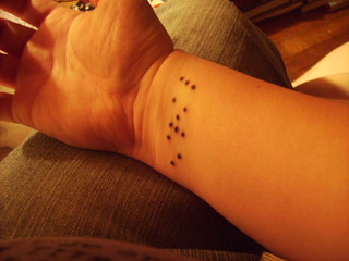 "braille ""LOVE"" tattoo 