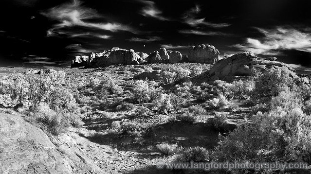 Arches Rocks IR Pano with Moon