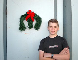 My son with the Mopar wreath he made   by Tolley's Charger