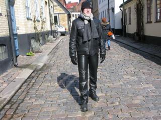 Shiny black leather