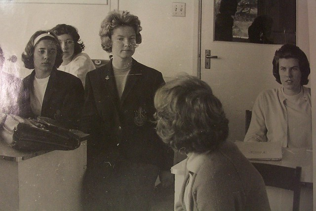 Pam Lynch far right at desk & other unidentified students in a tutorial, Newcastle Teachers' College, Australia - [1963]