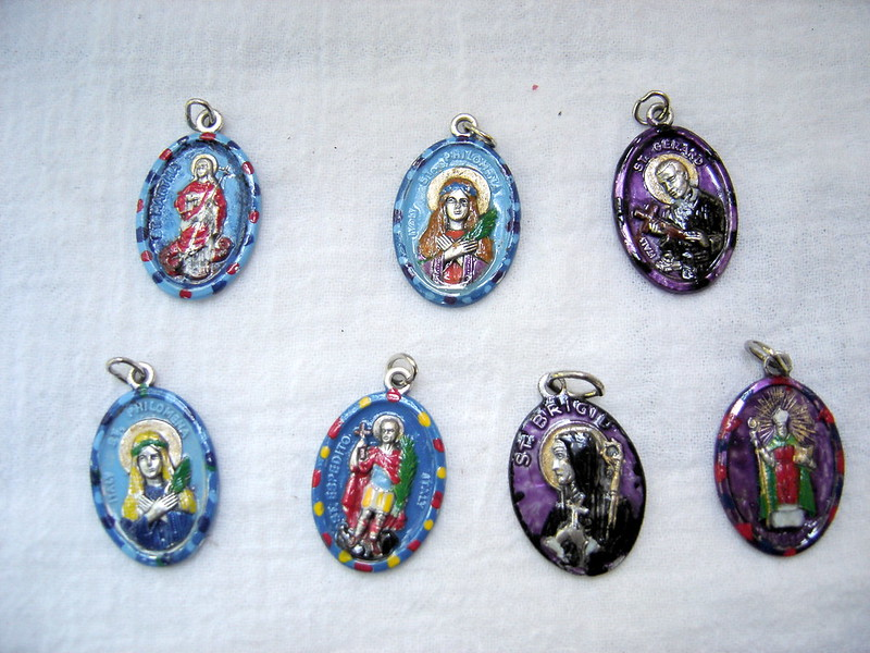hand painted saints medals