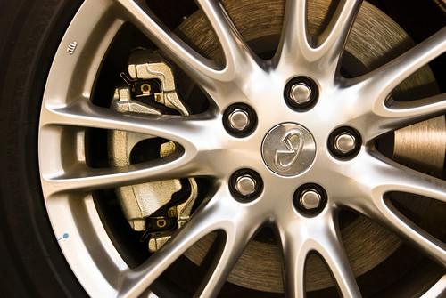 Close on wheel and brake of INFINITI vehicle