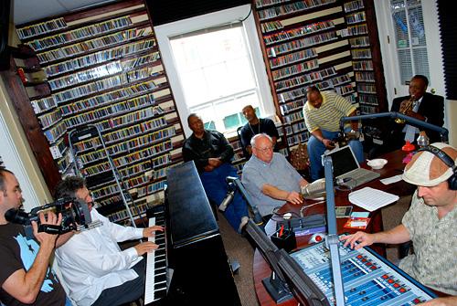 Aaron Walker, David Torkanowsky, Bob French, Don Bartholomew, Cosimo Matassa, Dave Bartholomew and George Ingmire at WWOZ in 2008