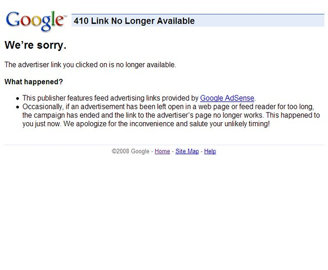 Google Error 410 | Google AdSense salutes my unlikely timing\u2026 | Nerd