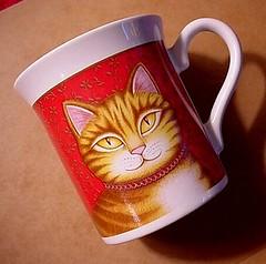 Orange-striped Tabby cat - double-sided porcelain mug - vintage 1987 Hallmark's Crowning Touch Line | by EraPhernalia Vintage . . . [''playin' hook-y''] ;o