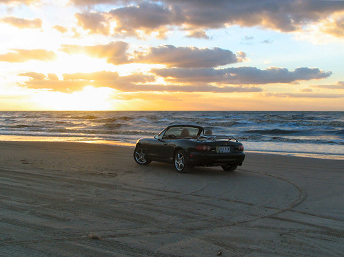 ocean beach sunrise miata