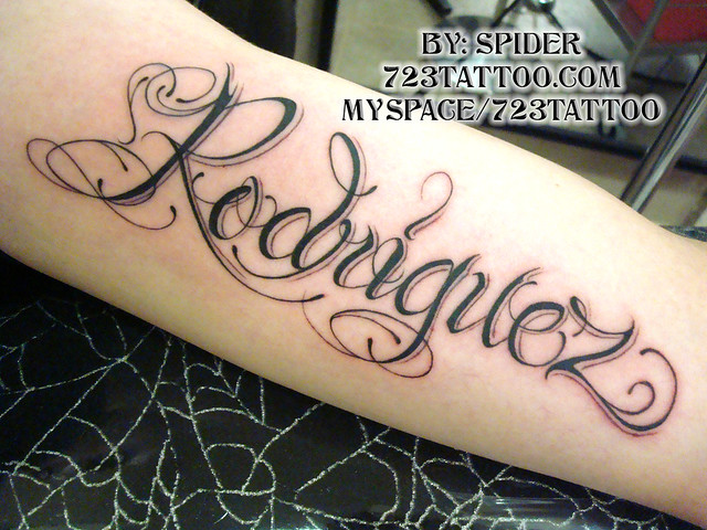script font | script name rodriguez tattoo, inside of arm