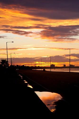 pink sunset orange black reflection gulfofmexico water yellow night clouds puddle bay coast university texas cloudy corpuschristi silhouettes headlights shore aftertherain oceandrive texasamcorpuschristi top20texas