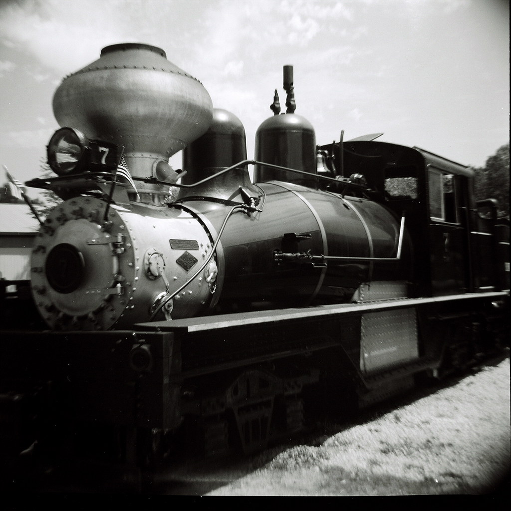 Diana visits a steam engine in Hesston, Indiana.