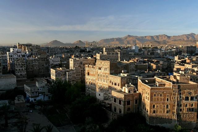 Yémen: lever du jour sur .Sanaa.