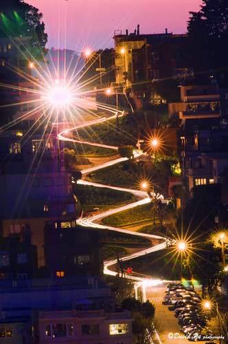 Lombard Street at night seen from Coit Tower. | by davidyuweb