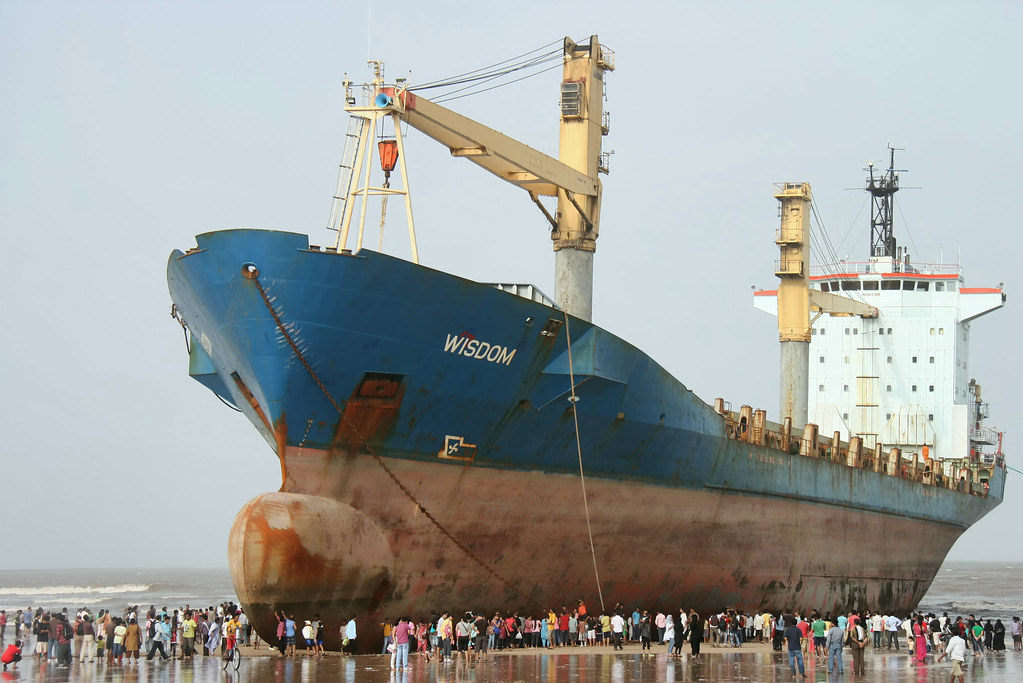 Ship Wreck Stuck On The Mud Stock Image - Image of ship