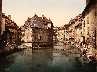 Old prison and canal, Annecy, France, ca. 1895