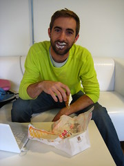 Wed, 2008-10-15 15:58 - Chris Matthews, co-author of Dave DaVinci, enjoys a snack in the House offices.