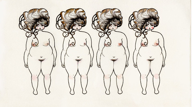 Experimental fat girls lined up