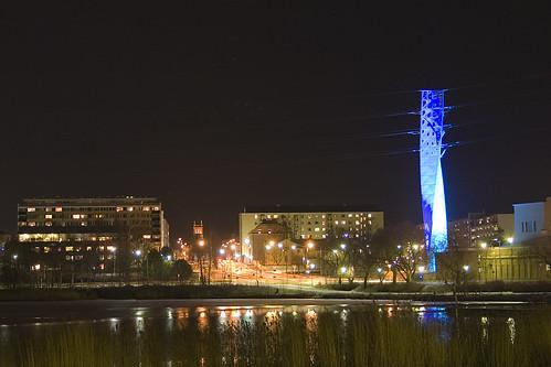 blue tower night finland power vaasa