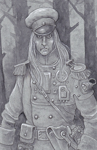 Steampunk Vampire - A Russian officer who also happens to be a vampire, his mesmeric gaze can stop a victim in their tracks. Another line and wash drawing heightened with white. | by widdershins3